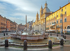 italy rome piazza navona fountain of neptune morning